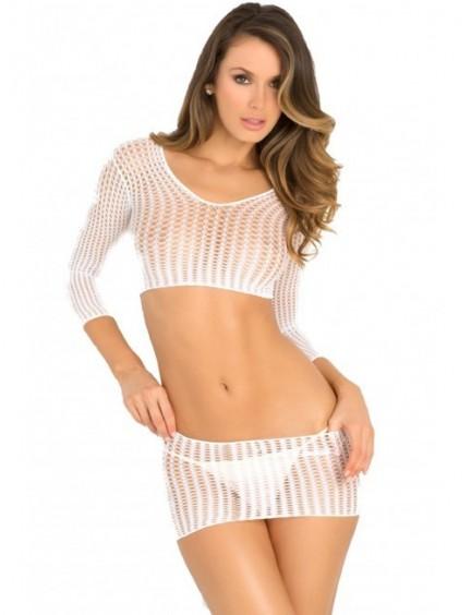 Ensemble top et mini jupe blanc résille RENE ROFE