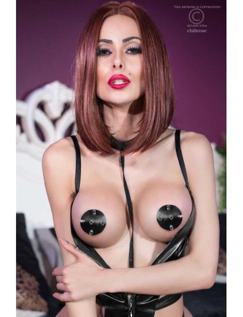 Nipples Cache tétons Simili Cuir Noir Autocollants Chilirose