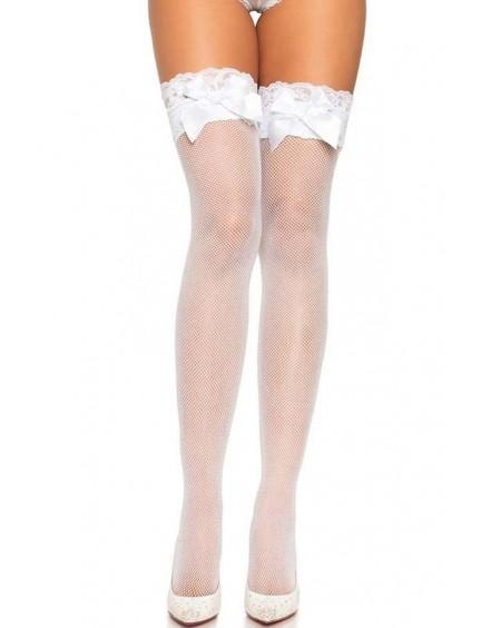 Bas blanc résille & Gros noeud LEG AVENUE