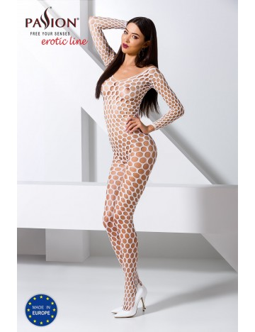 Bodystocking Large Résille Ruche Blanc Passion