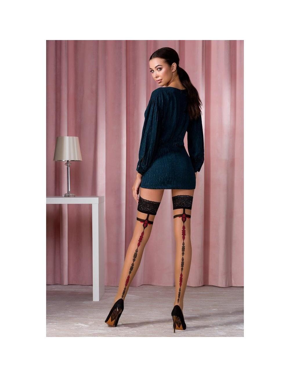Bas Autofixants Couture dentelle 20 DEN Beige et Noir Passion