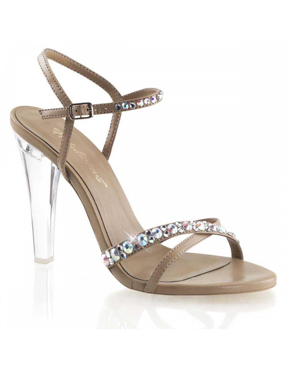 Sandales strass Clearly Beige PLEASER
