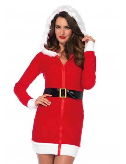 Robe Noel Velour Rouge Zip Intégral Leg Avenue