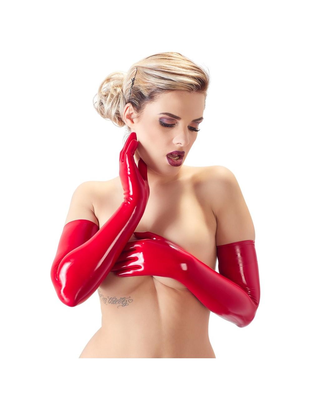 Gants Longs en Latex Rouge Latex Collection