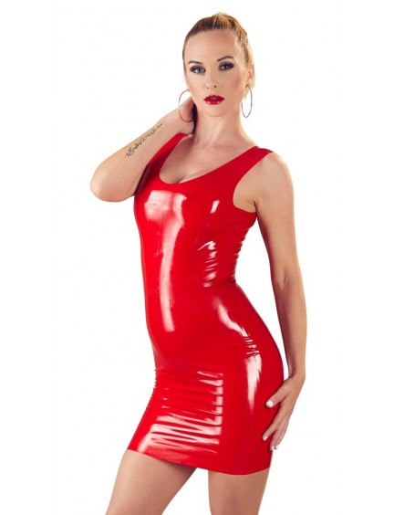 Robe Courte en Latex Rouge Ajustée Latex Collection