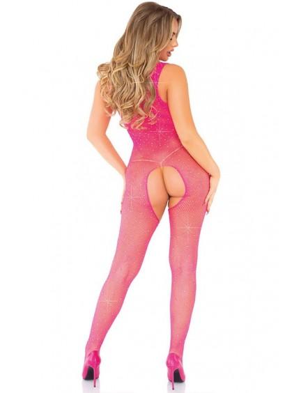 Combinaison rose transparente résille cristallisée LEG AVENUE