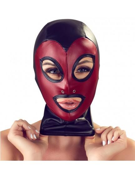 Cagoule Fetichiste Noir et Rouge Bad Kitty