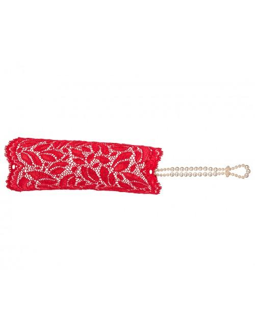 Gant érotique Paris dentelle et perles rouge Bracli