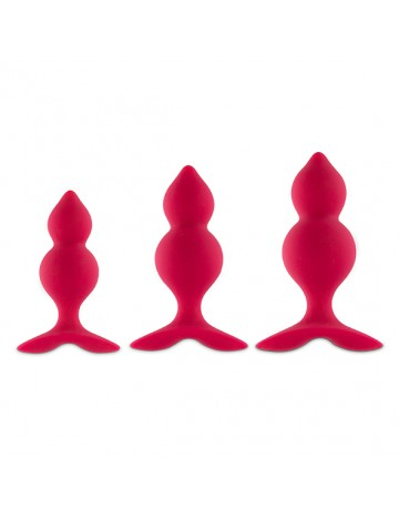 Kit de 3 Plug Anal Bibi Twins Rouge Feelztoys