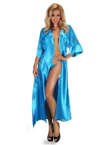 Peignoir long + String Turquoise BEAUTY NIGHT