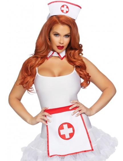 Accessoires Nurse blanc & rouge Leg avenue