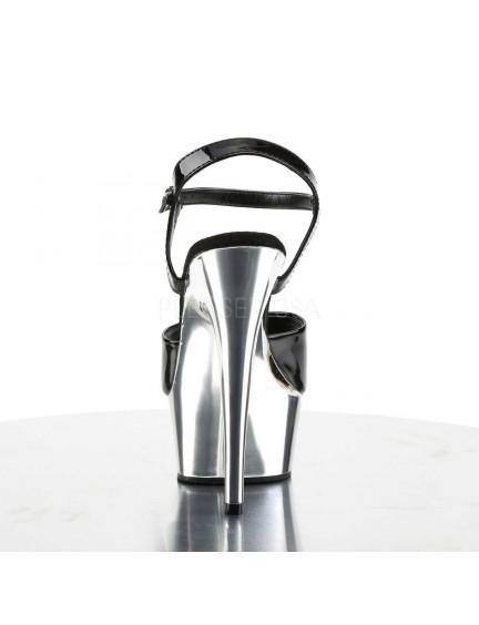 Sandales charme talon haut Noir Argent PLEASER